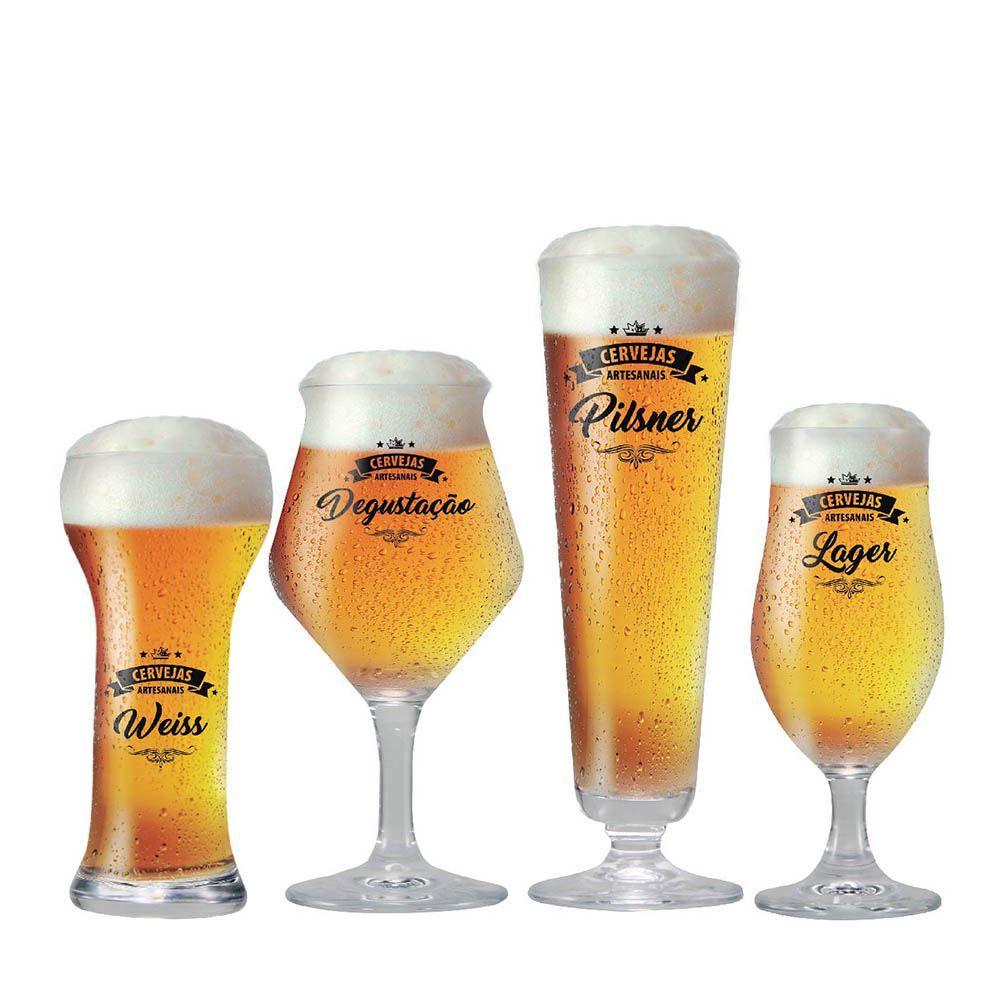 Jogo de Taças Beer Sommelier Instituto Cervejas Claras 4 Pcs
