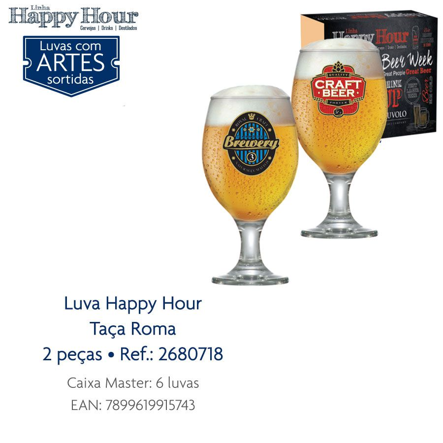 Jogo de Taça de Cerveja Vidro Roma 400ml Luva 2 Pcs