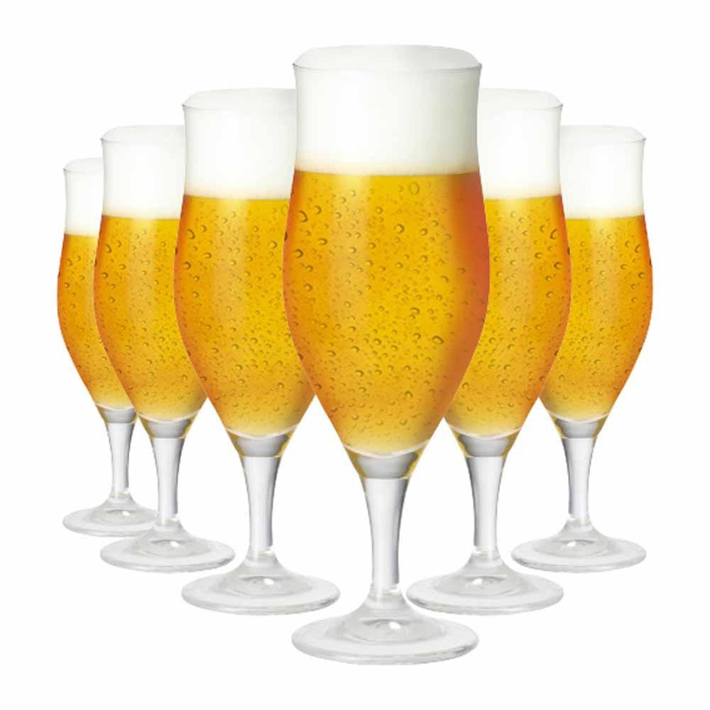 Jogo de Taças Cerveja Lubzer M Cristal 340ml 6 Pcs