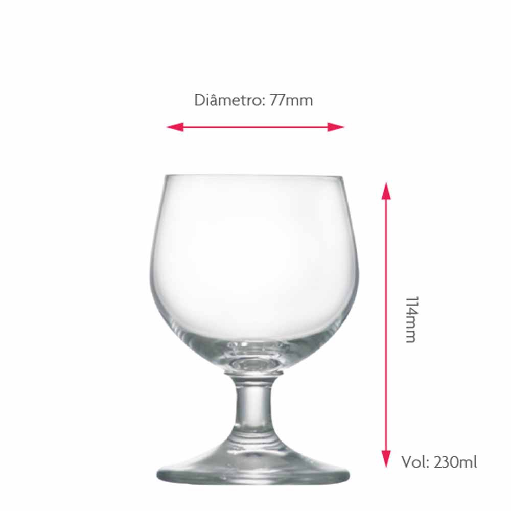 Taça de Cerveja de Cristal Minibock 230ml 6 Pcs