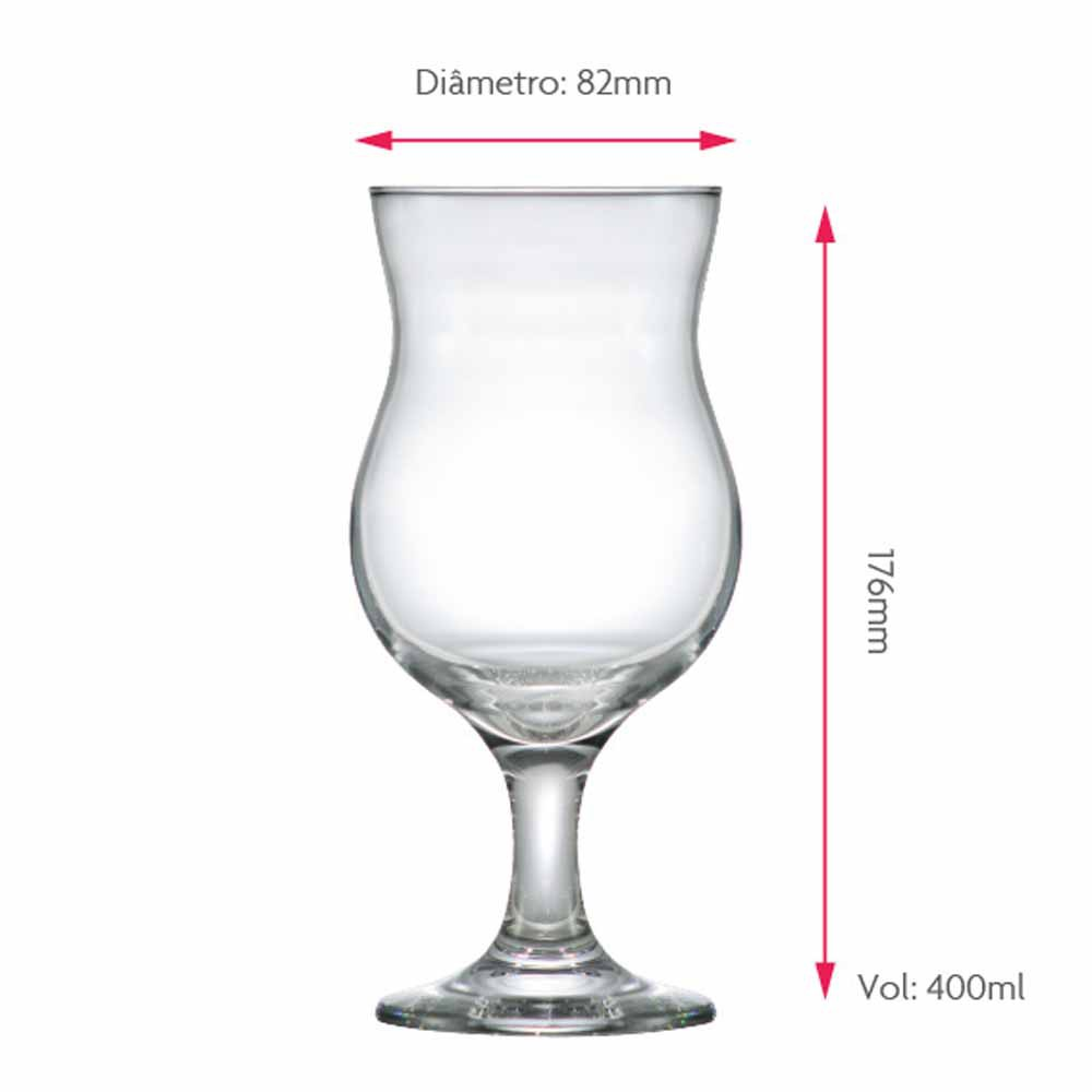 Taça de Cerveja de Vidro Panama 400ml 12 Pcs