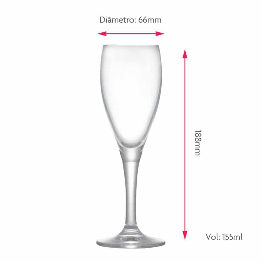 Jogo de Taças Champagne Arcadia Cristal 155ml 2 Pcs