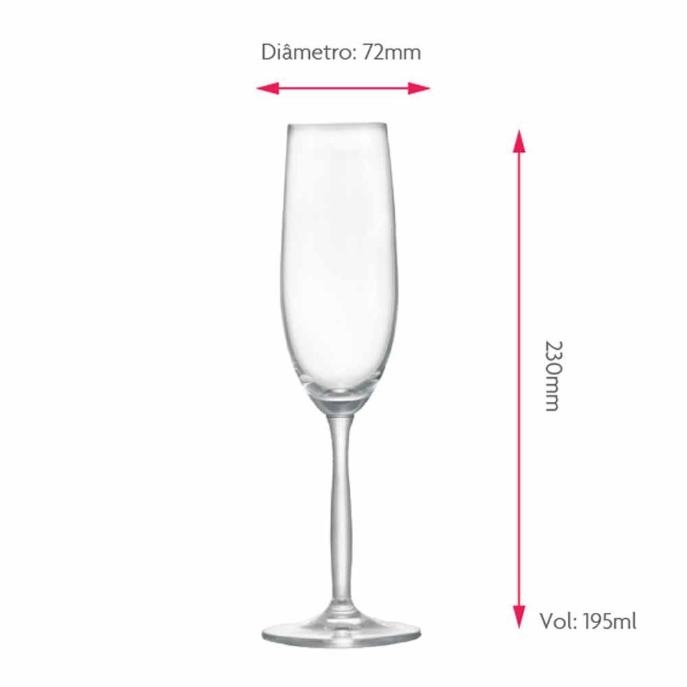 Jogo de Taças Champagne Ritz Cristal 195ml 6 Pcs