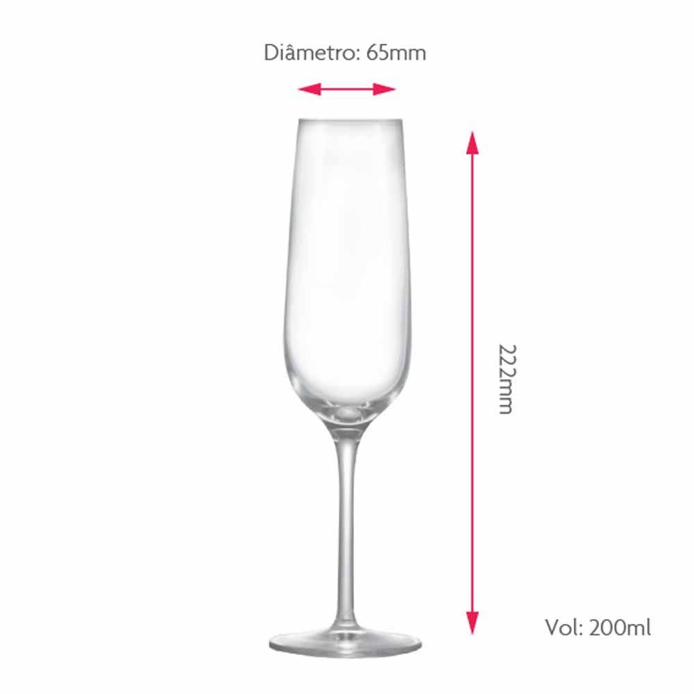 Jogo de Taças Champagne Sensation Cristal 200ml 6 Pcs