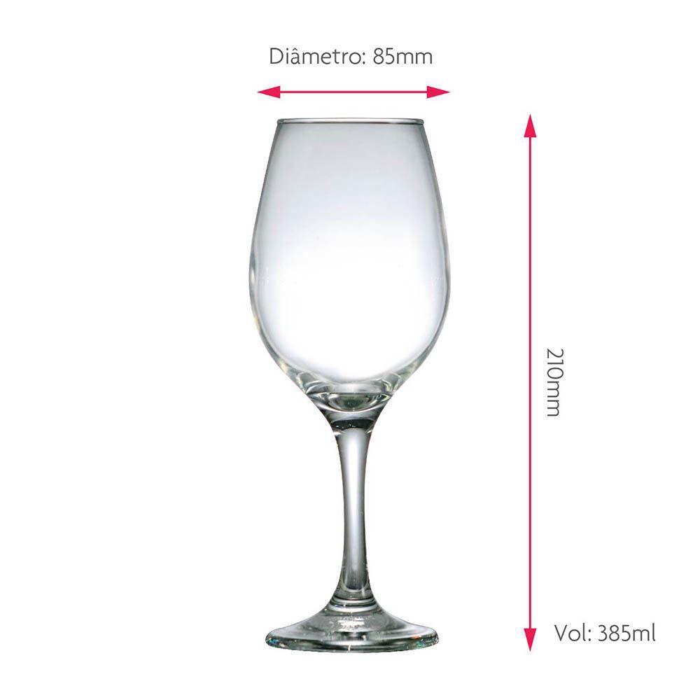 Taça de Vinho Tinto de Vidro One 385ml 6 Pcs