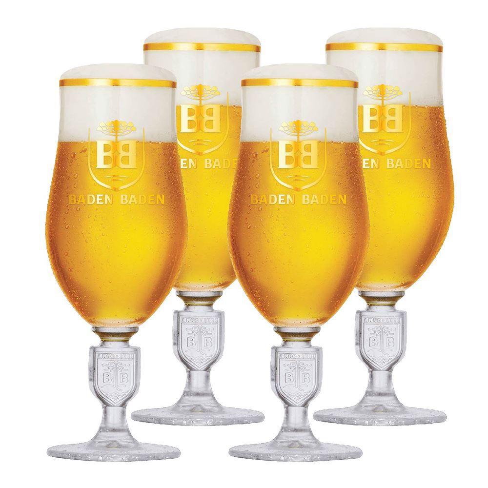 Jogo de Taças de Cerveja Baden Baden Brasao Relevo 360ml 4 Pcs