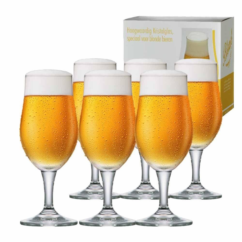 Taça de Cerveja de Cristal Blond P 265ml Conjunto 6 Pcs