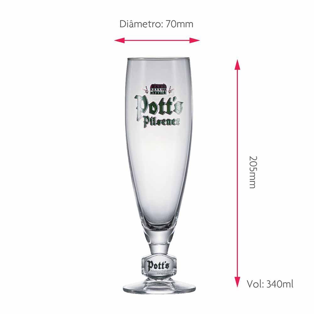 Jogo de Taças de Cerveja Frase Potts Pokal .25 Cristal 340ml