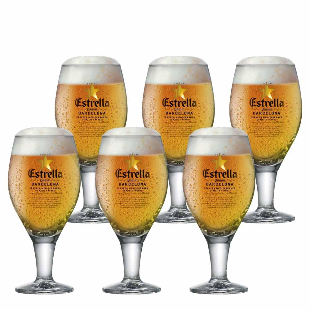 Jogo de Taças de Cerveja Frases Estrella Damm Cristal 430ml