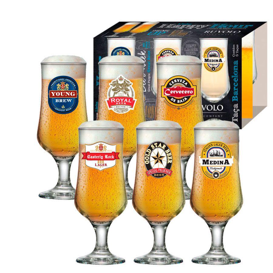 Jogo de Taças de Cerveja HH Barcelona 370ml Luva 6 Pcs