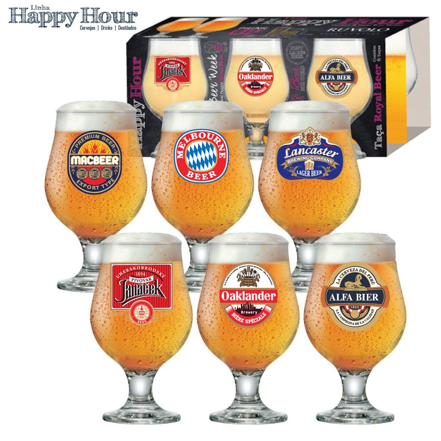 Jogo de Taças de Cerveja HH Beer Master 380ml Luva 6 Pcs