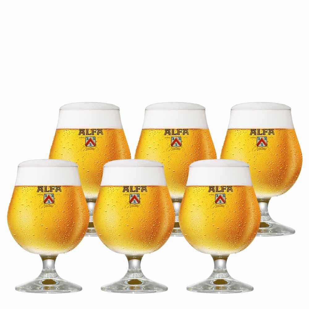 Jogo de Taças de Cerveja Rótulo Frases Alfa Cristal 410ml