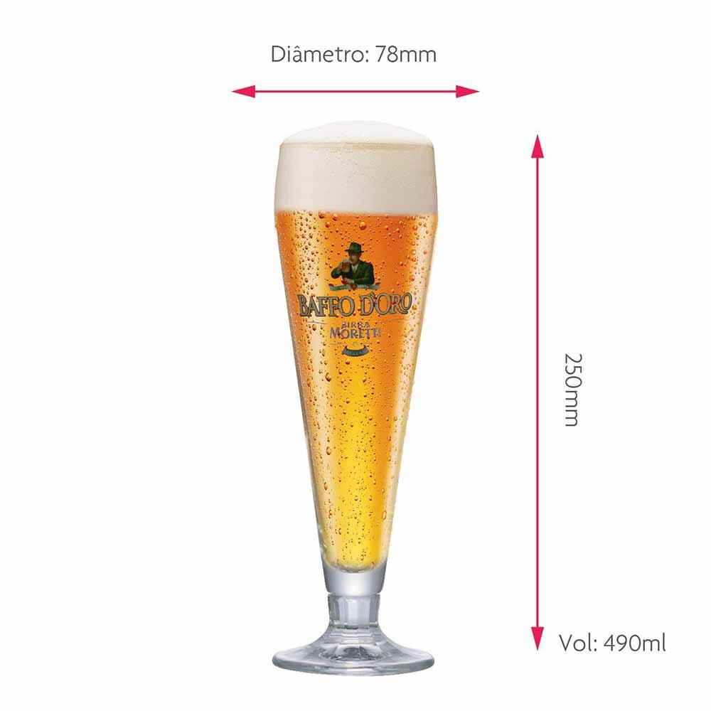 Jogo de Taças de Cerveja Rótulo Frases Baffo Cristal 490ml