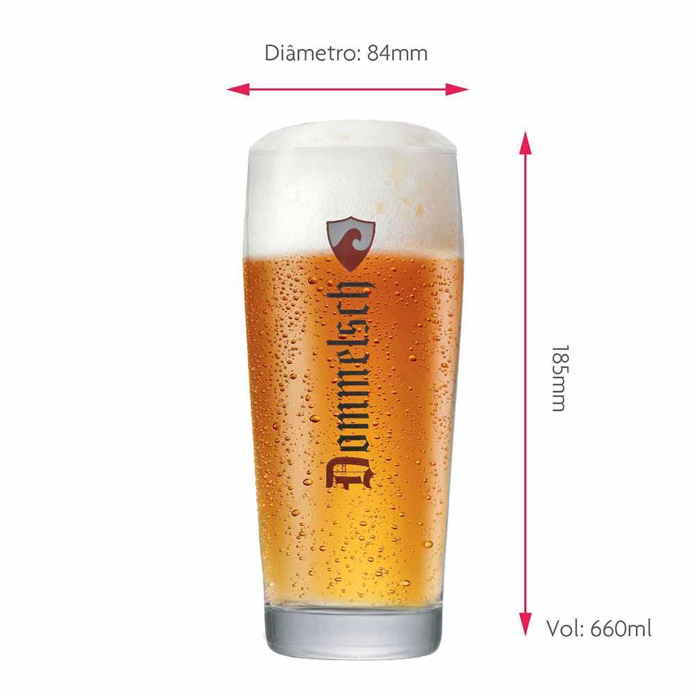 Jogo de Copos de Cerveja Rótulo Frases Dommelsch Vidro 660ml