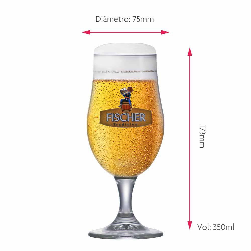 Jogo de Taças de Cerveja Rótulo Frases Fischer Cristal 350ml