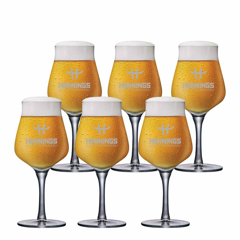 Jogo de Taças de Cerveja Rótulo Frases Hennings Handwerksbrauerei Cristal 420ml