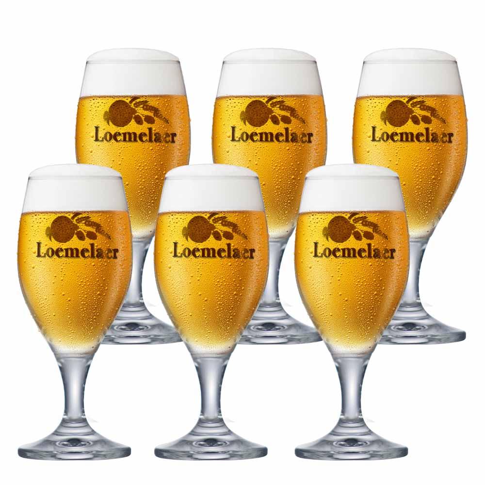 Jogo de Taças de Cerveja Rótulo Frases Loemelaer Cristal 260ml