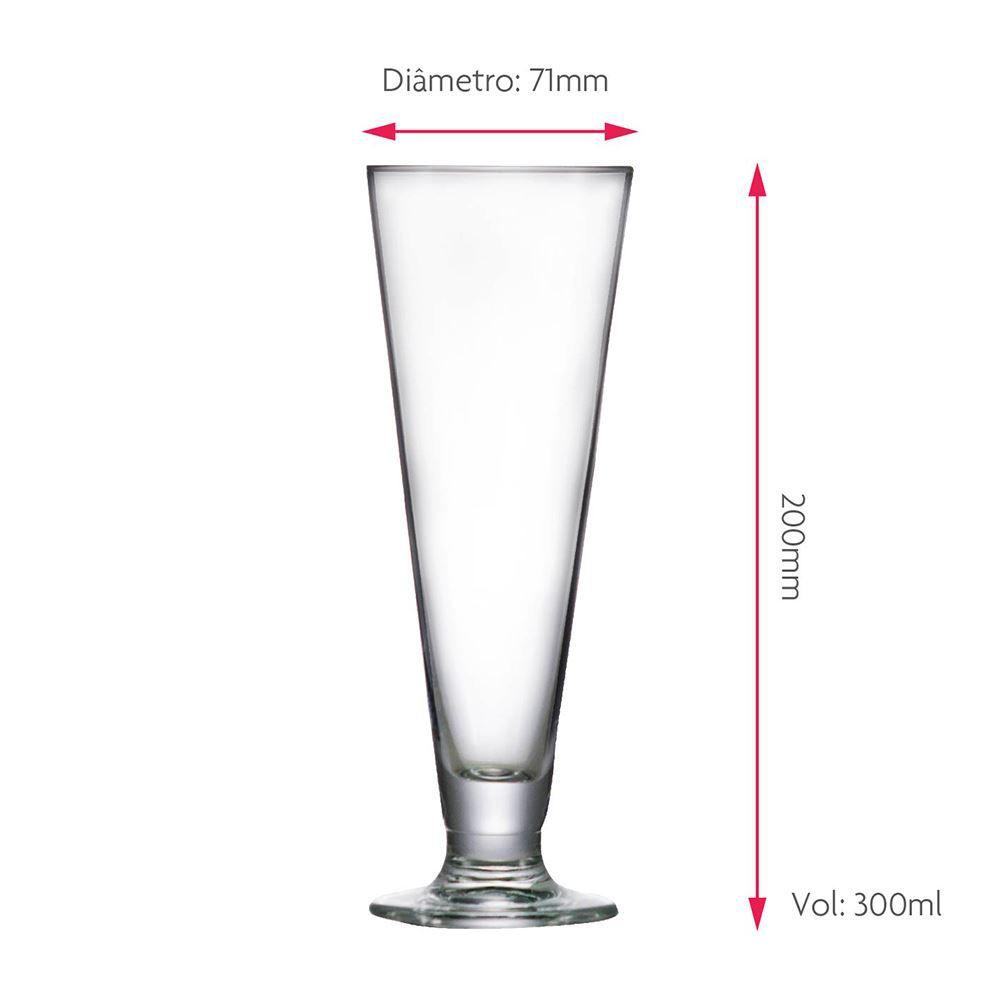 Taça de Cerveja de Cristal Tulipa Reta 300ml 12 Pcs