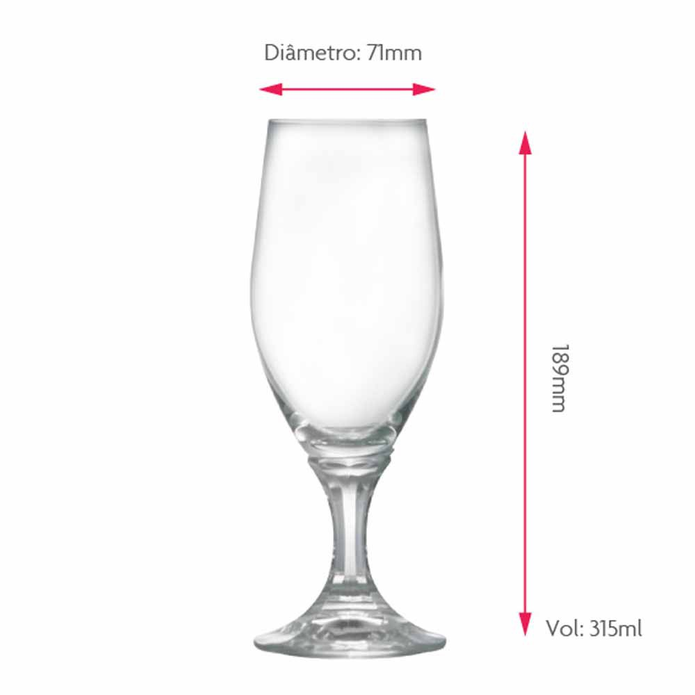 Jogo de Taças de Cerveja Velt Cristal 315ml 2 Pcs