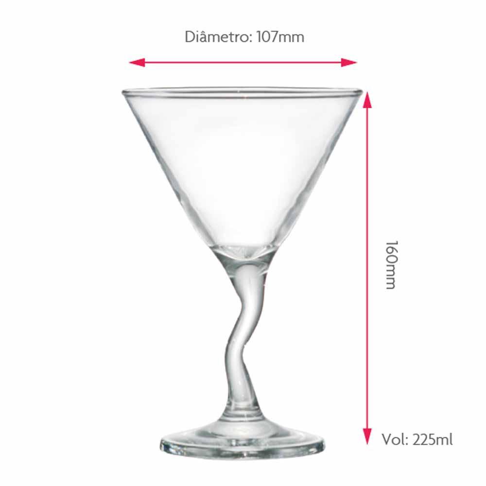 Jogo de Taças Martini Twister Vidro 225ml 6 Pcs