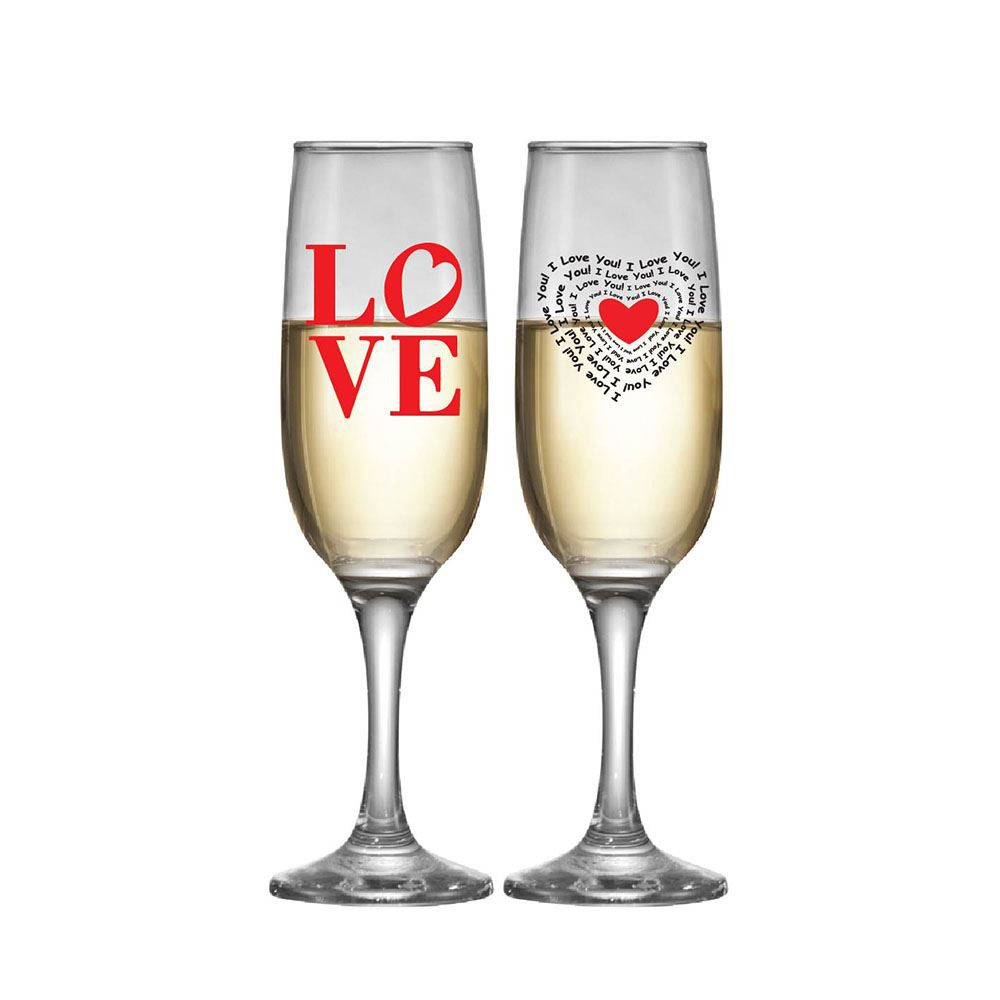 Jogo de Taças para Champagne de Vidro Love 215ml 2 Pcs