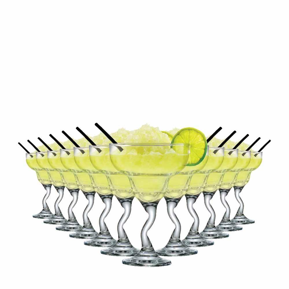 Taça de Margarita de Vidro Twister 255ml 12 Pcs