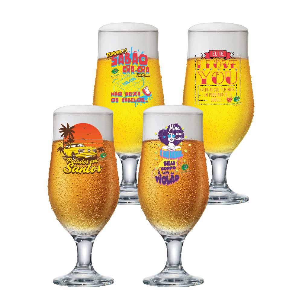Jogo de Taças Vidro Royal Beer Mamonas Assassinas 4 pcs