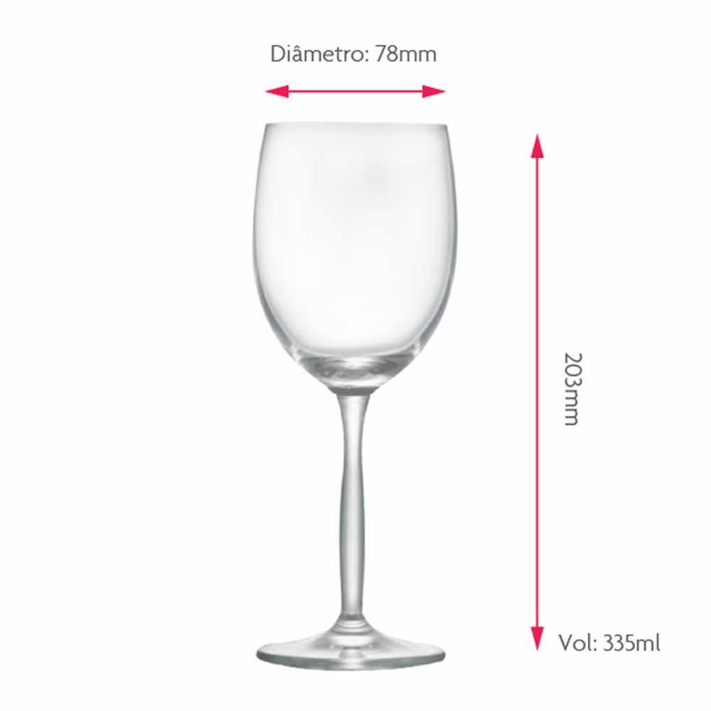 Jogo de Taças Vinho Branco Ritz Cristal 335ml 6 Pcs