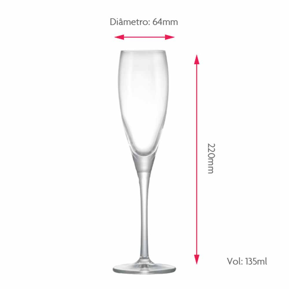 Taça de Vinho Proseco de Cristal 135ml 2 Pcs