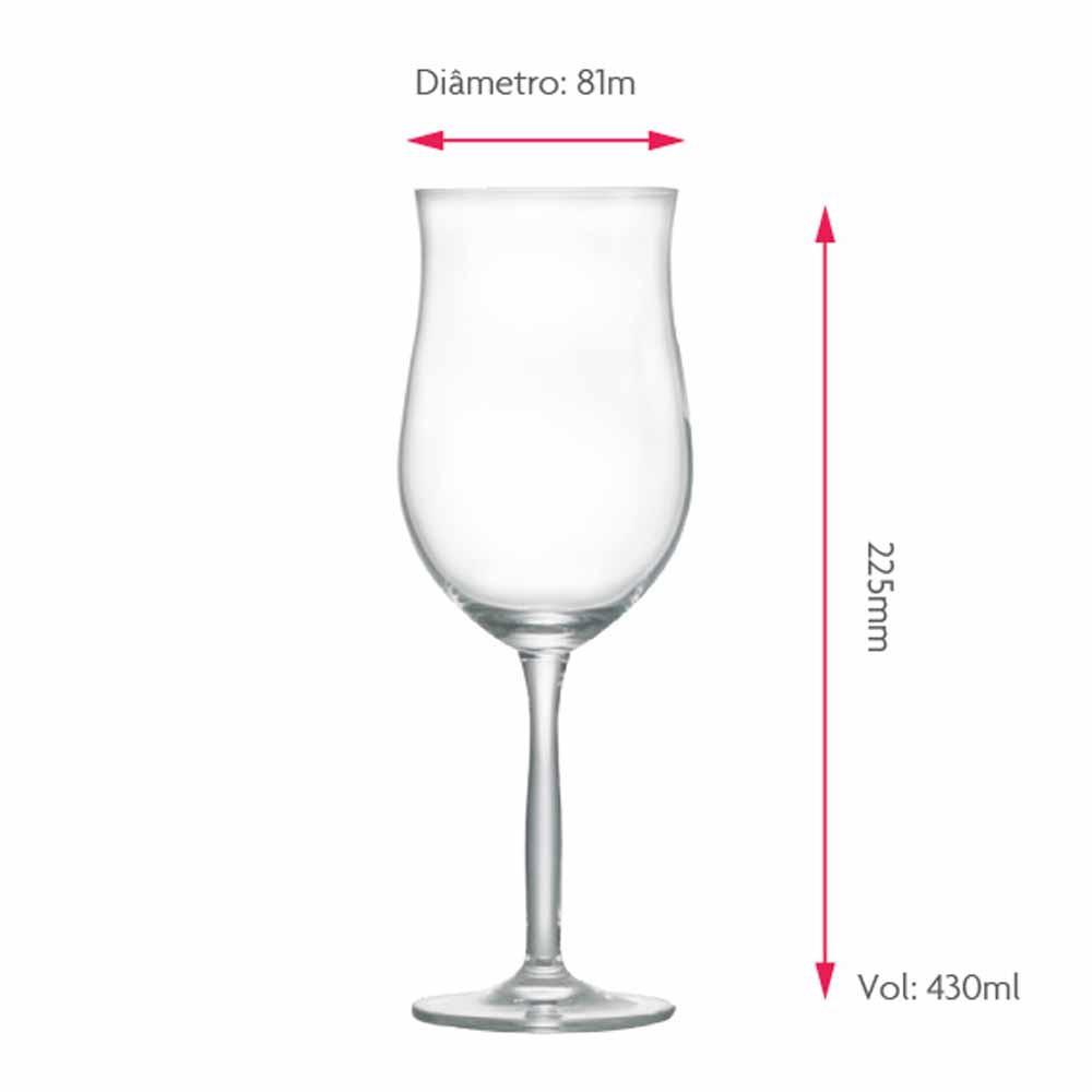 Jogo de Taças Vinho Rose Bordeaux Rose Cristal 430ml 2 Pcs