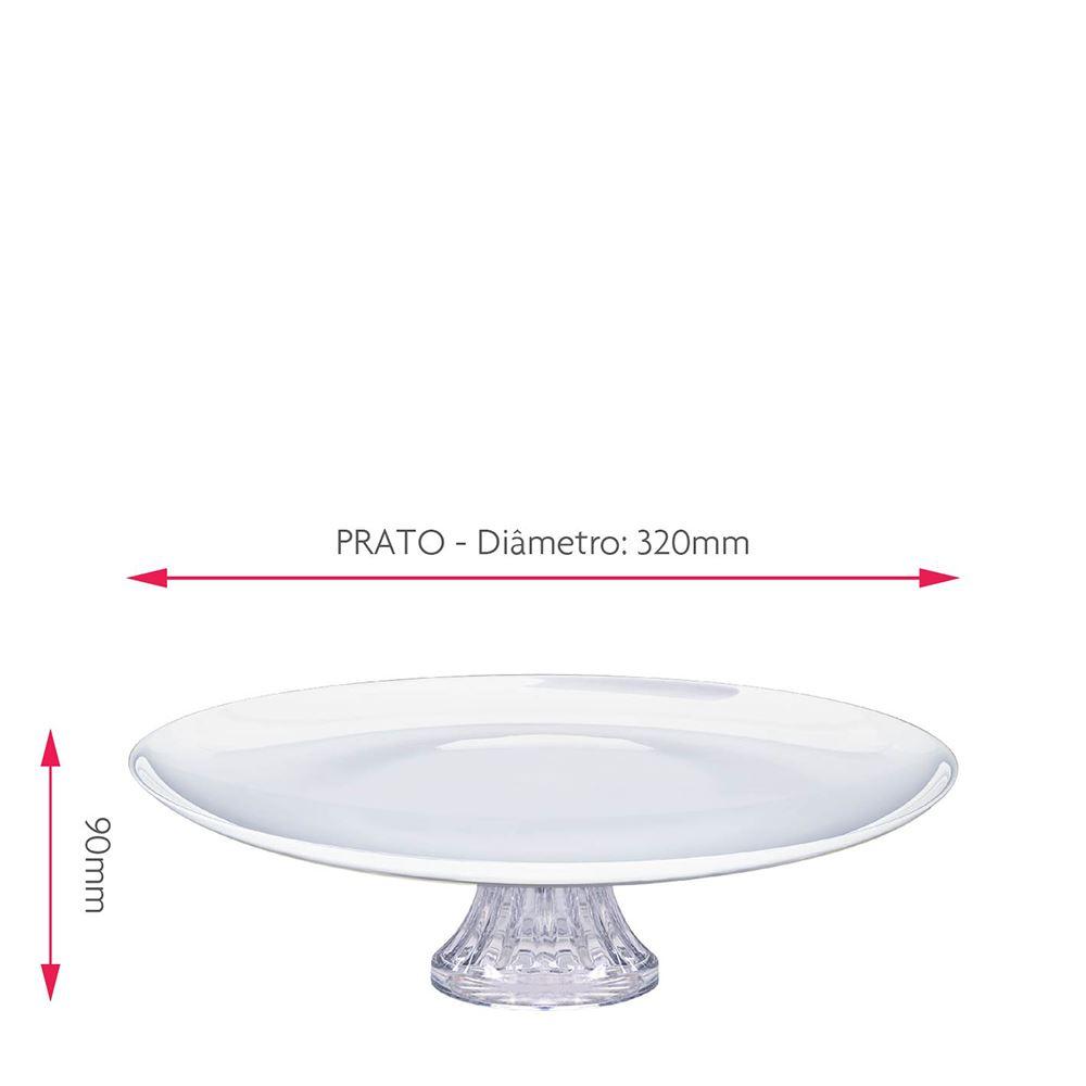 Kit Presente - Boleira com Pé e Prato de Sobremesa White