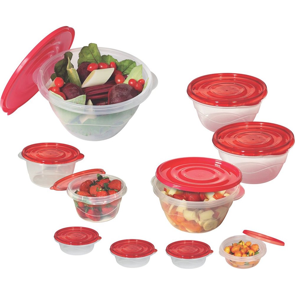 Pote para Mantimentos Plástico Redondo Tampa Vermelha 10pcs