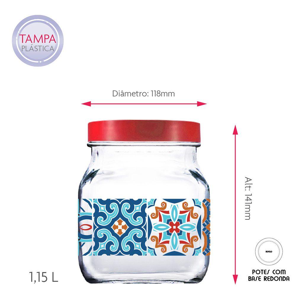 Pote de Vidro Decorado Style Mosaic Tampa de Plástico Vermelho 3Pcs