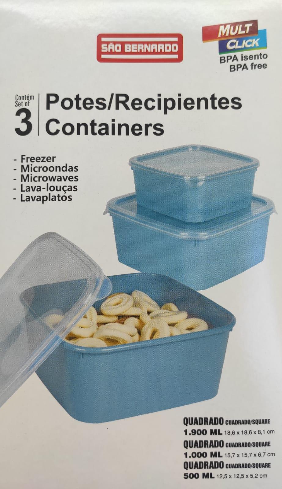 Pote para Mantimentos Plástico Quadrada Tampa Transparente 3Pcs