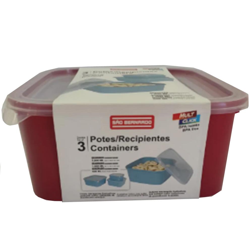 Pote para Mantimentos Plástico Vermelha Quadrada Tampa Transparente  3Pcs