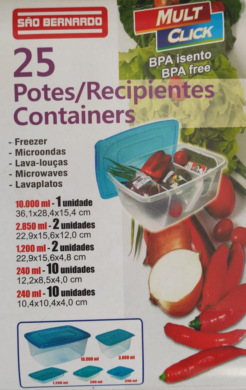 Potes para Mantimentos Plástico Quadrado Tampa Branca 25Pcs