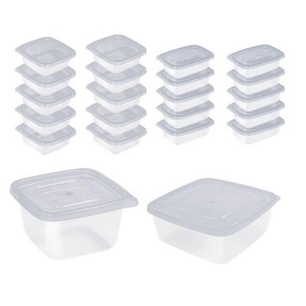 Potes para Mantimentos Plástico Quadrado Tampa Branca  22Pcs
