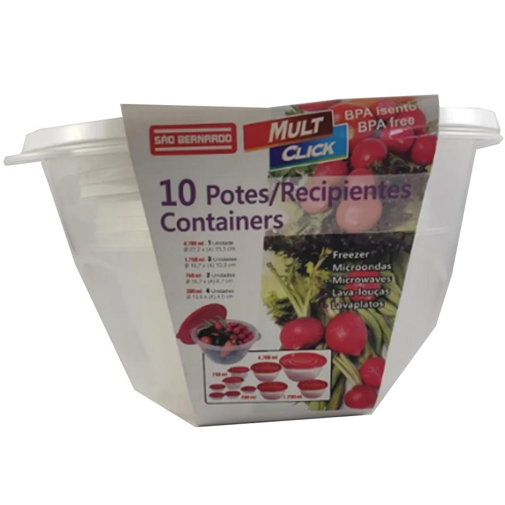 Pote para Mantimentos Plástico Redondo Tampa Branca 10pcs