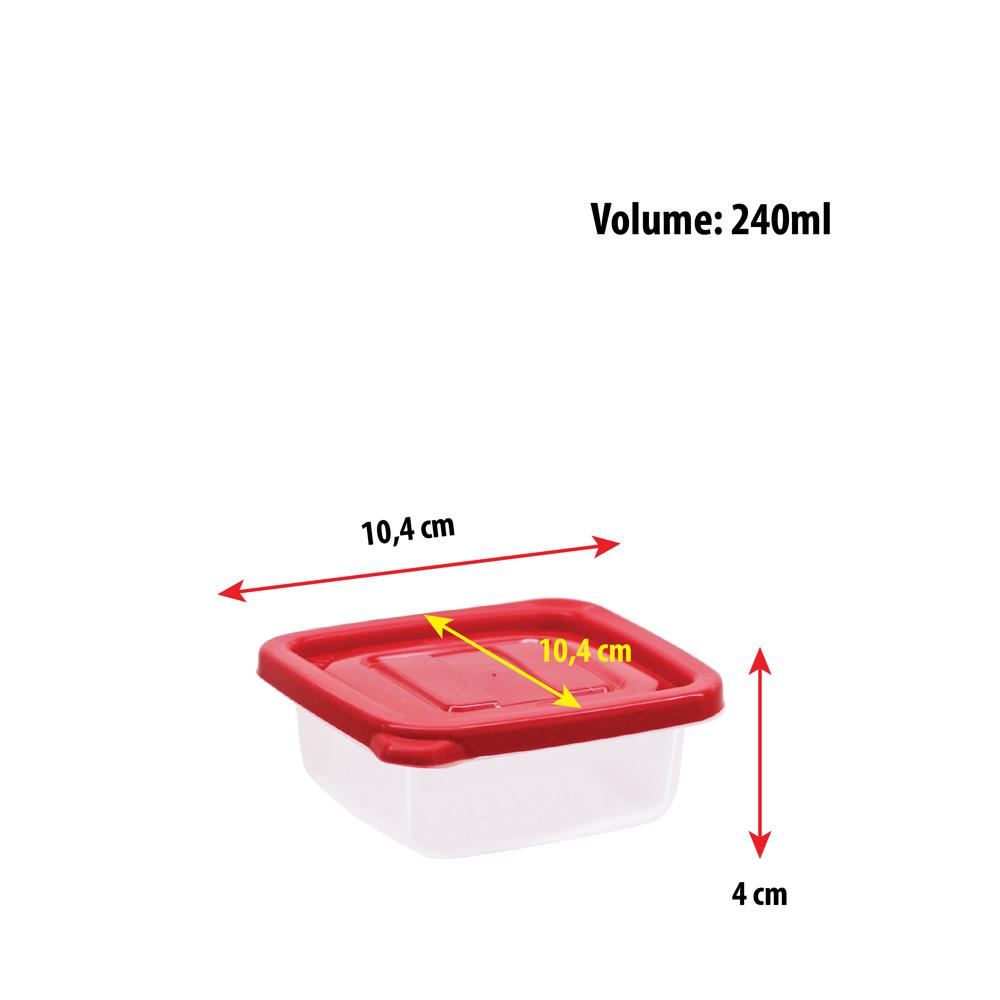 Pote para Mantimentos Plástico Retangular Tampa Vermelha 2.8L 12Pcs