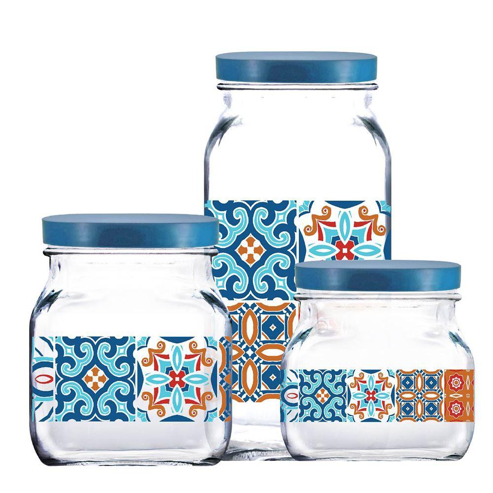 Potes de Vidro Decorado Style Mosaic Tampa Plást Azul 3Pcs