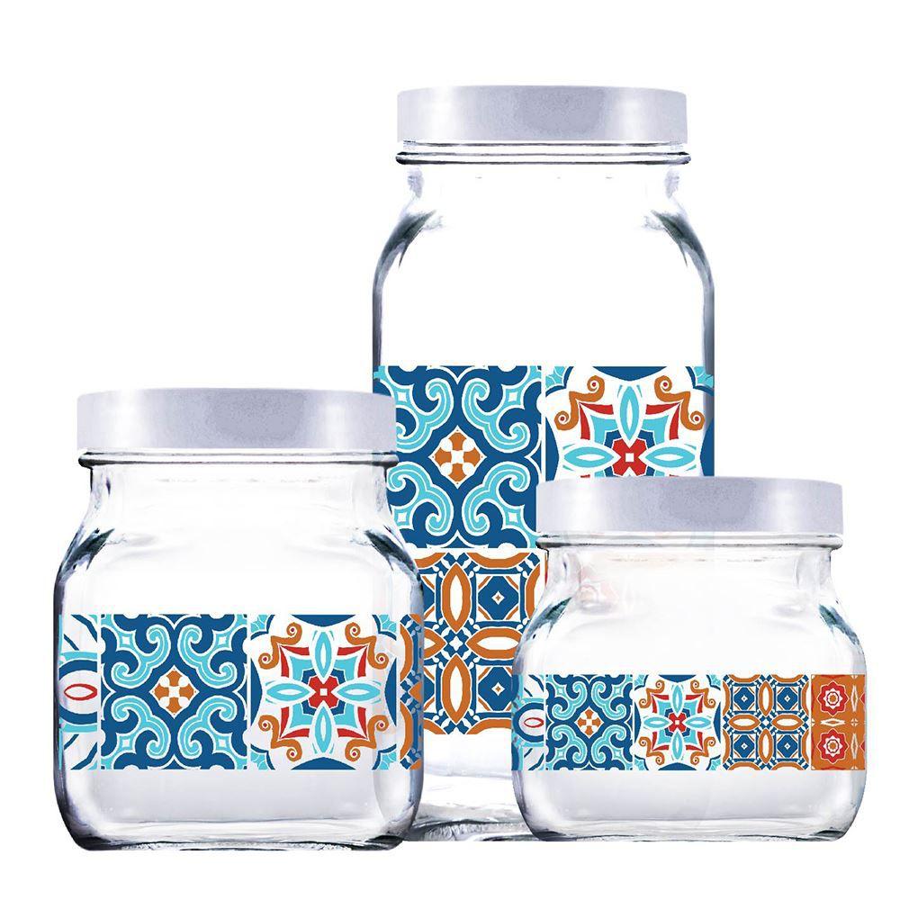Potes de Vidro Decorado Style Mosaic Tampa Plast Branco 3Pcs