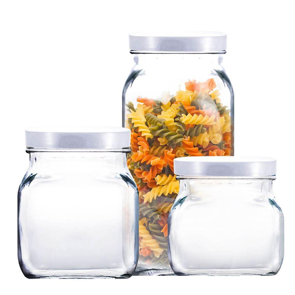 Potes de Vidro Redondo Style Tampa de Plástico Branco 3Pcs