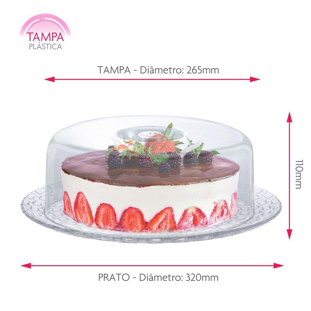 Prato de Vidro Boleira com Tampa Plástica Gourmet Ruvolo