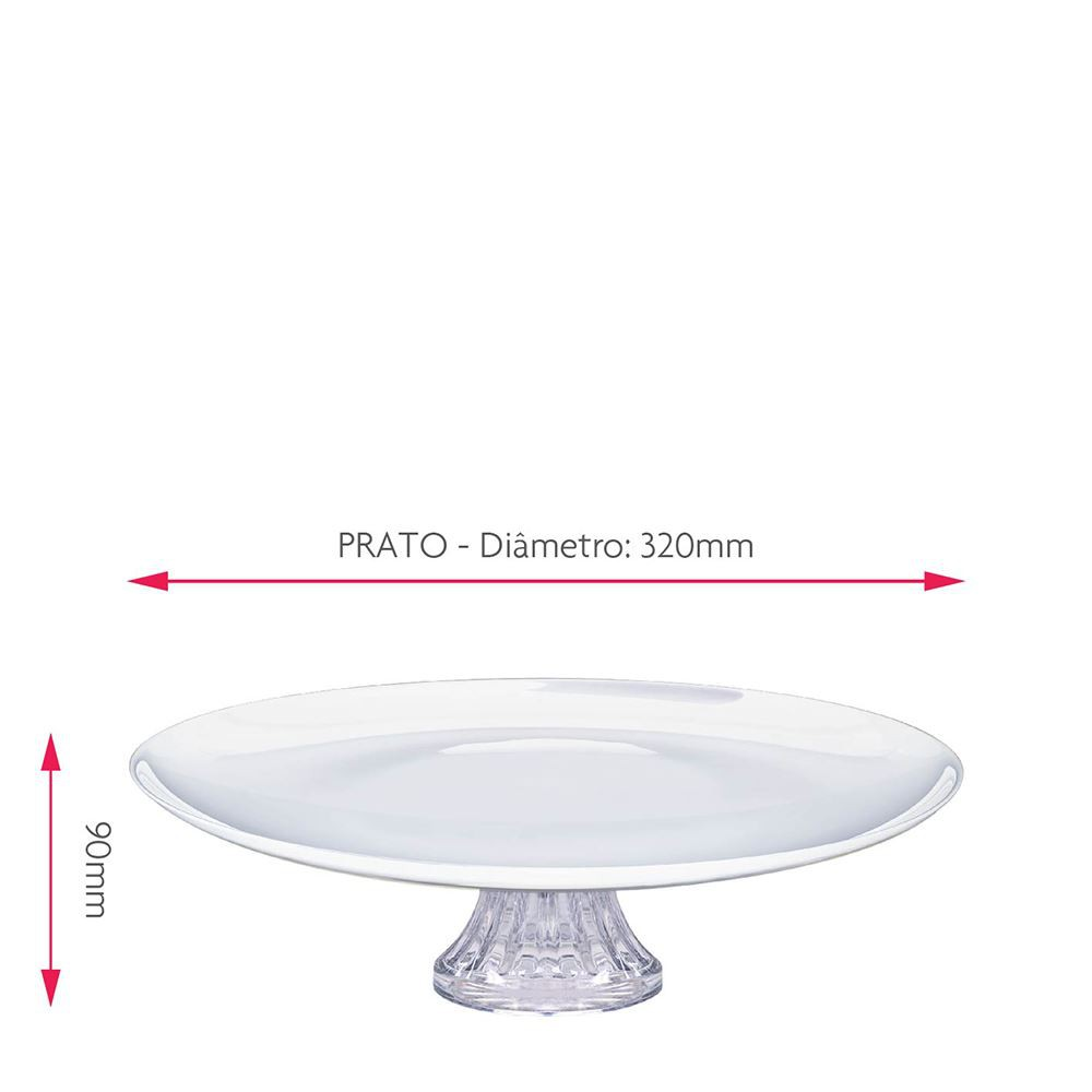 Prato de Vidro para Bolos com Pé Opaline Branco White Ruvolo