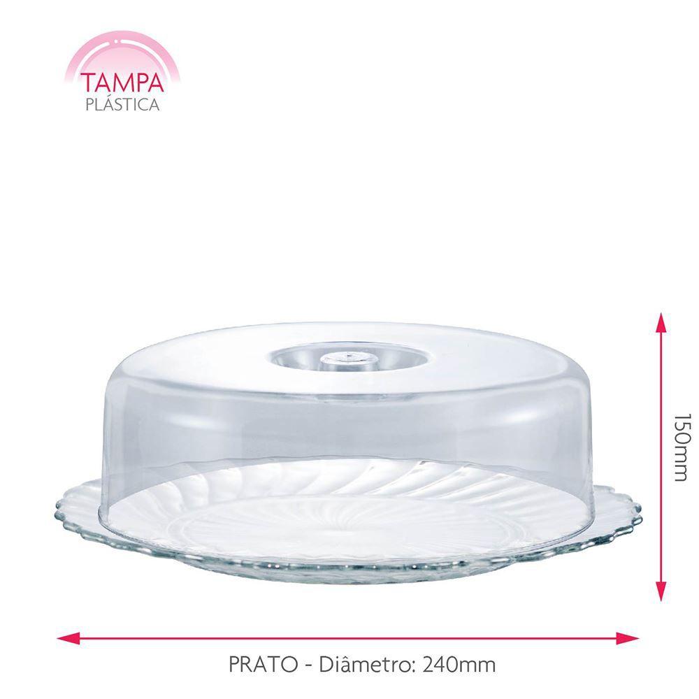 Queijeira de Vidro com Tampa Plástica Gourmet Ruvolo