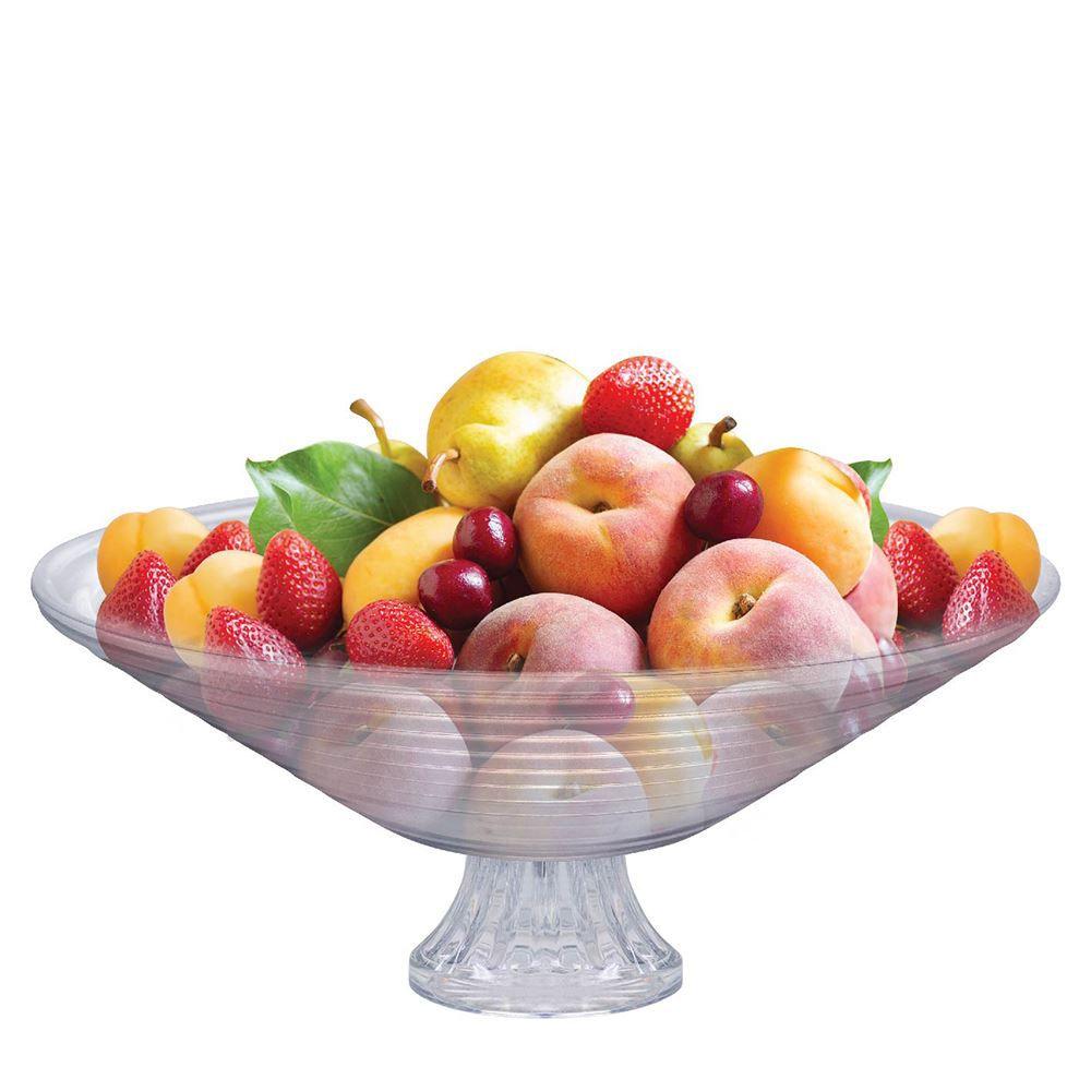 Saladeira - Fruteira de Vidro com Pé Redonda Gourmet Ruvolo