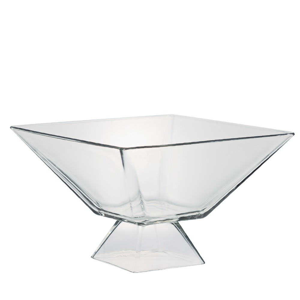 Saladeira Quadrada de Vidro Milao G com Pé Vidro 2850ml