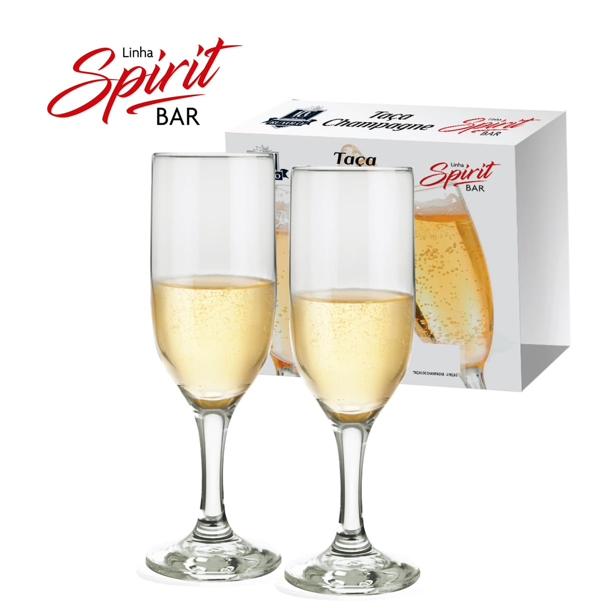 Taça Champagne Roma de Vidro com 180ml 2 peças