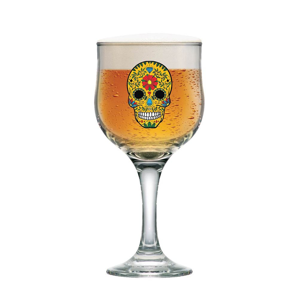 Taça de Cerveja Caveira Mexicana Amarelo Barcelona 300ml
