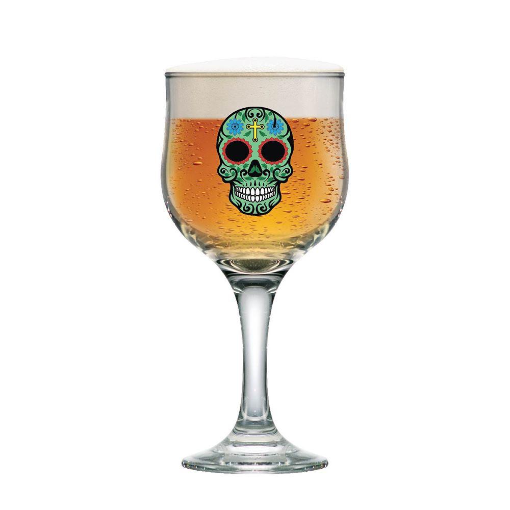 Taça de Cerveja Caveira Mexicana Verde Barcelona 300ml